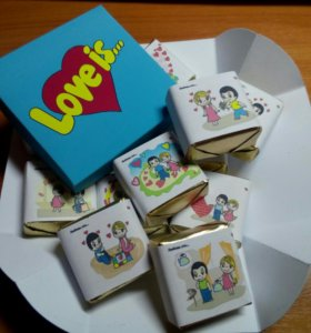 Коробочка конфет с пожеланиями