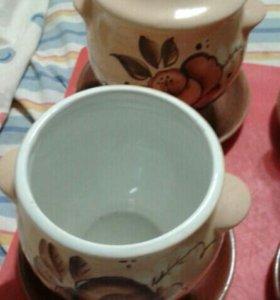 Набор керамических расписных горшков
