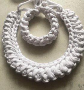 Вязаный браслет и колье