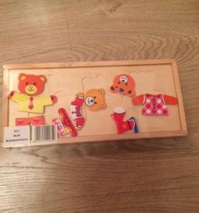 Игрушка Пазл деревянный 'Одень семью медведей'