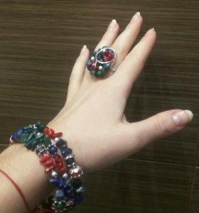 Комплект браслет многослойный и кольцо