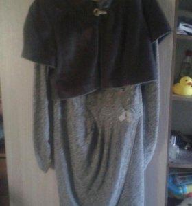 Платье с меховой жилеткой
