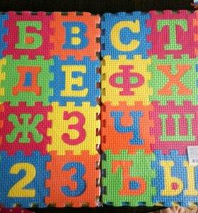 Коврик пазл буквы цифры