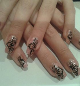 Наращивание ногтей, покрытие гель лаком !!!