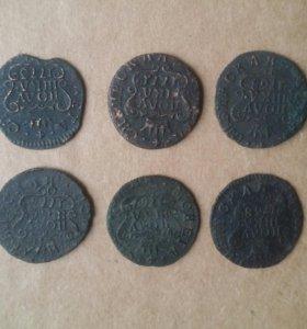 Полушка Сибирская 6 штук. 1768-73. Царские монеты.