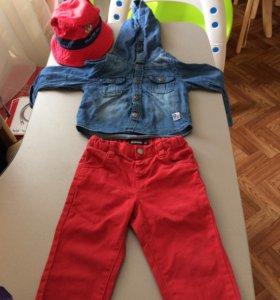 Джинсовая куртка+джинсы+панама