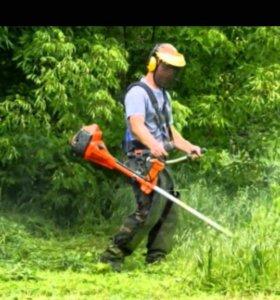 Покос травы бензо косой
