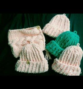 Продам шапку нежно-розового цвета ручной работы