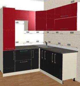 Кухня Титан красный/чёрный