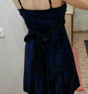 Платье темно-синее коктейльное