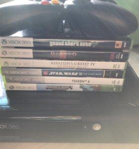 Xbox 360 с джойстиками и играми