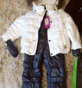 Зимний комплект: куртка, комбинезон, варежки