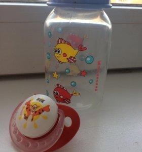 Соски Nuk и бутылочка