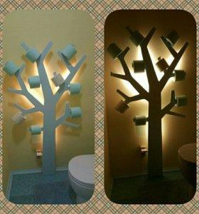 Дерево. Светильник. Держатель для туалетной бумаги