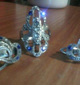 Серебро925 серьги и кольцо