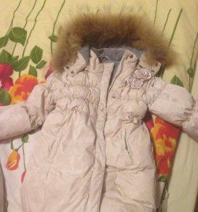 Пальто и шапка chobi на 3-5лет