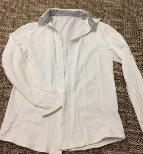 Рубашка белая, трикотажная, б/у, брюки в подарок