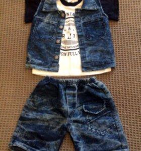 Джинсовый жилет + футболка + шорты