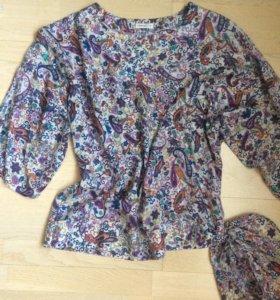 Блузка летняя шёлк 52-54