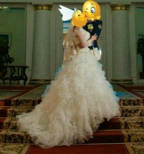 Свадебное платье (диадема+болеро)