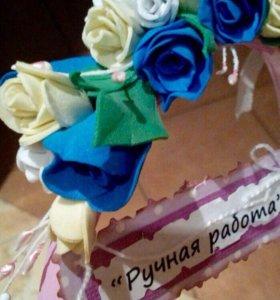 Ободок из цветов фоамиран