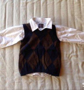 Комплект HM - рубашка (2шт) и безрукавка 86р