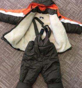 Зимний костюм, куртка и штаны на лямках, размер 98