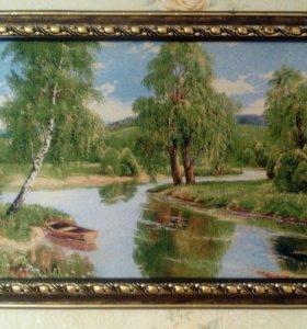 Картина написанная на холсте из ткани