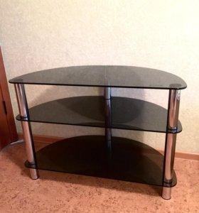 Подставка под телевизор (хром/тонированное стекло)