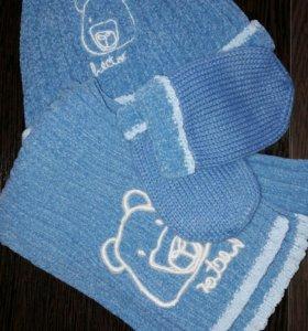 Детский комплект NEXT(шапка,шарфик,варежки) новый!