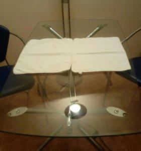 Стол стеклянный обеденный+ 2 стула
