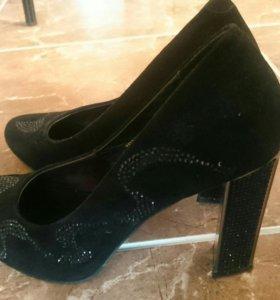 Туфли 👠 натур замша стразы
