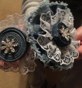 Ободок из джинсовой ткани