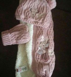 Комплект шарф, шапочка и варежки