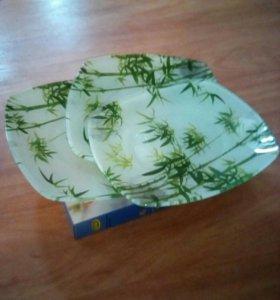 Набор из 3-х стекл. тарелок
