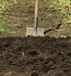 Вспашка земли с лопатой.Разнорабочие.
