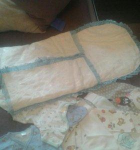 Одежда для новорожденных+конверт на выписку
