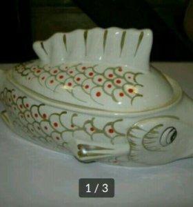 Супница Рыба, старый фарфор, СССР