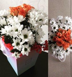 Букеты , цветы в коробке на заказ