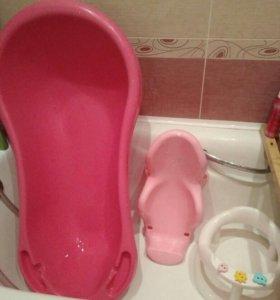 Ванночка детская, стульчик, горка, две каталки