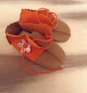 Детские ботиночки кожа 12 см. + подарок))