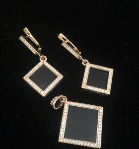 Комплект из золота 585, агата и фианитов