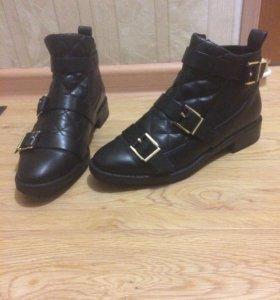 Zara кожаные полусапожки туфли ботинки