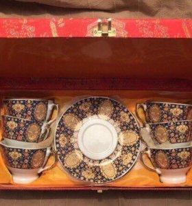 Чайный сервиз костяной фарфор золото
