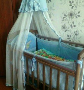 Детская кроватка+матрас+бортики с балдахином