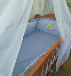 Балдахин и бортики в кроватку новые