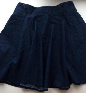 Джинсовая юбка полусолнце на резинке