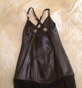 Кожаное платье чёрное