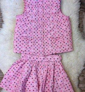 Комплект для девочки(кеды, жилет, юбка)