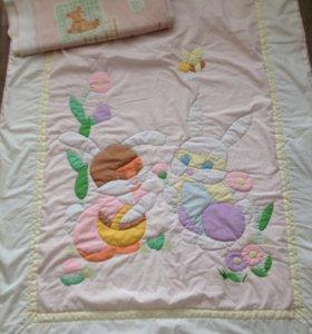 Одеяло детское б/у,ручной работы 116х88